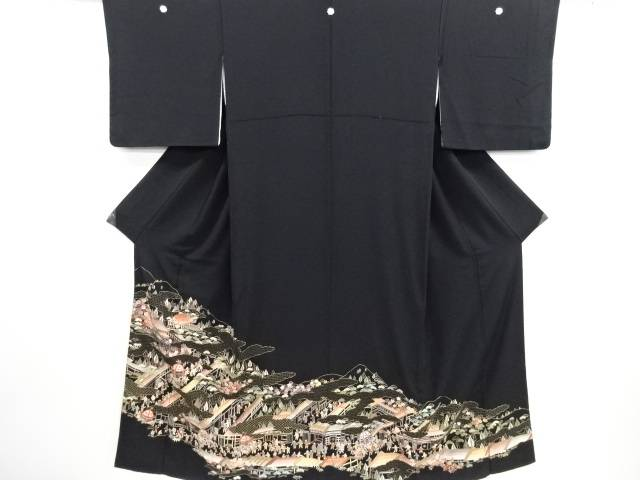リサイクル 蘇州刺繍 雲取に時代人物・祭風景模様留袖(比翼付き)【送料無料】