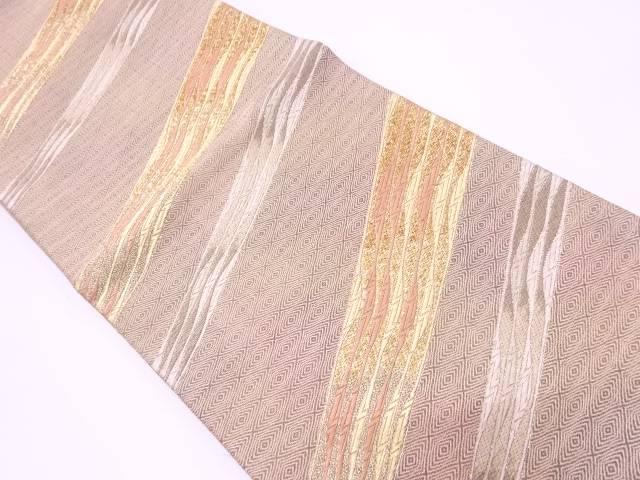 リサイクル 斜め縞模様織出し袋帯【送料無料】