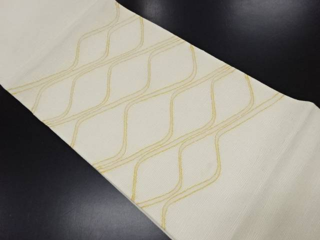 リサイクル 絽 よろけ横段模様織り出し袋帯【送料無料】