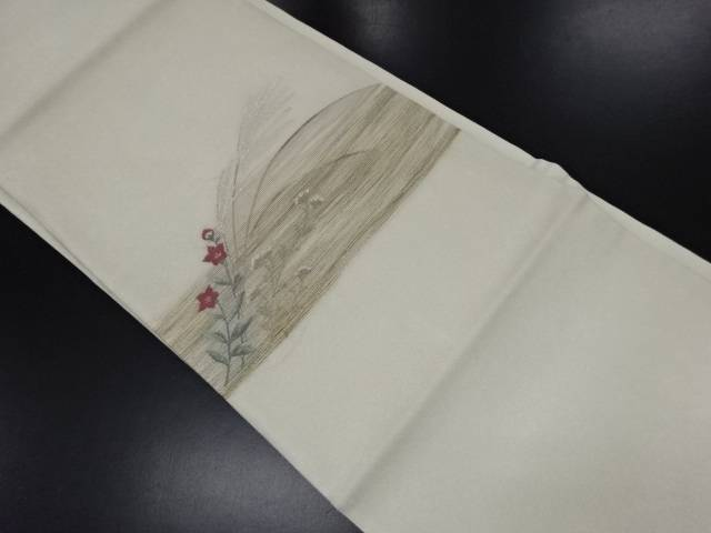リサイクル 紗 芒に桔梗模様織り出し名古屋帯【送料無料】