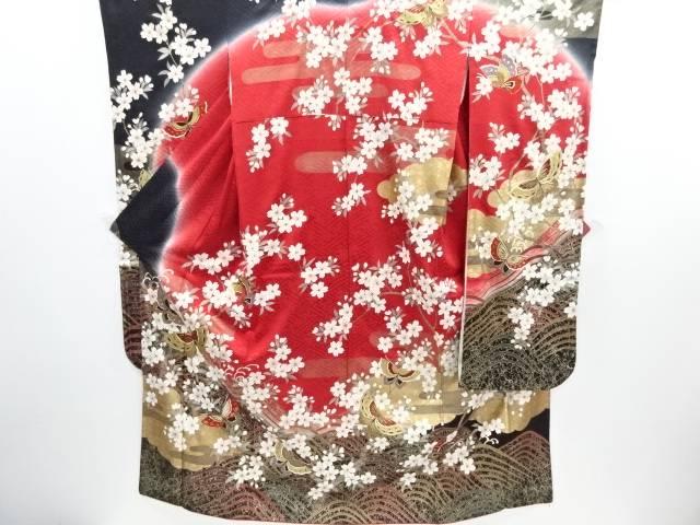 リサイクル 金彩波に枝桜・蝶模様刺繍振袖・袋帯セット【送料無料】