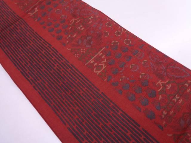 リサイクル 手織り紬変わり縞に草花模様全通袋帯【送料無料】