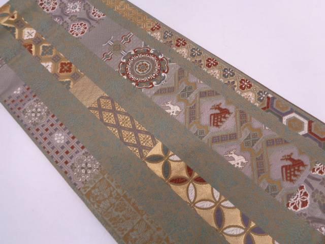 リサイクル 縞に古典柄・有栖川模様織出し袋帯【送料無料】