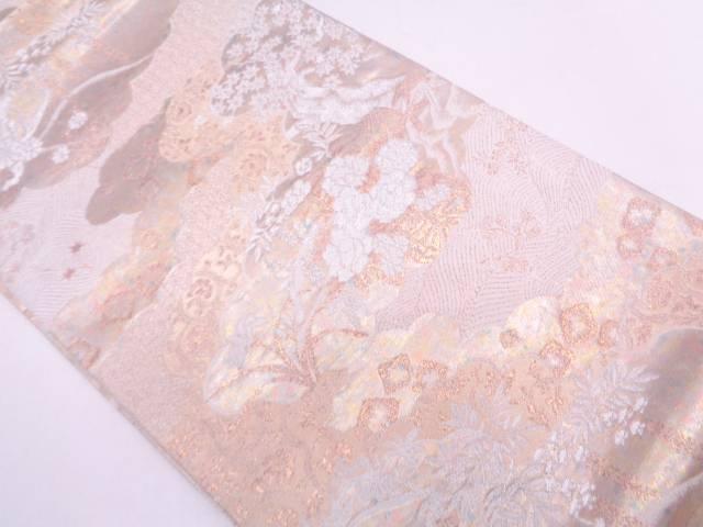 リサイクル 引箔雲に花唐草模様織出し袋帯【送料無料】