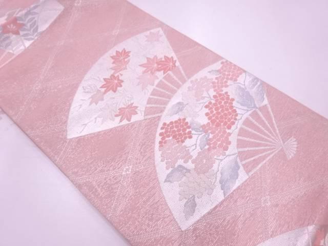 リサイクル  紗 扇に草花模様織出し袋帯【送料無料】