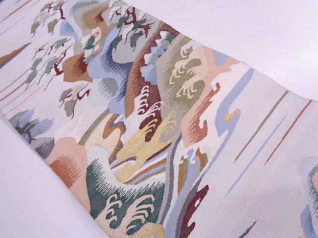 リサイクル 本綴れ屋敷に笠松・風景模様織出し袋帯【送料無料】