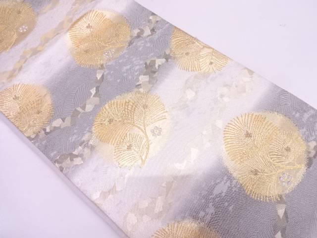 リサイクル 未使用品 吉村織物製 松に花模様織出し袋帯【送料無料】