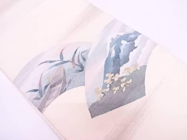 リサイクル 綴れ地紙に遠山・小舟模様織出し袋帯【送料無料】