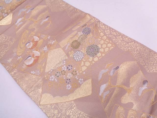 リサイクル 色紙に鴛鴦・草花模様織出し袋帯【送料無料】