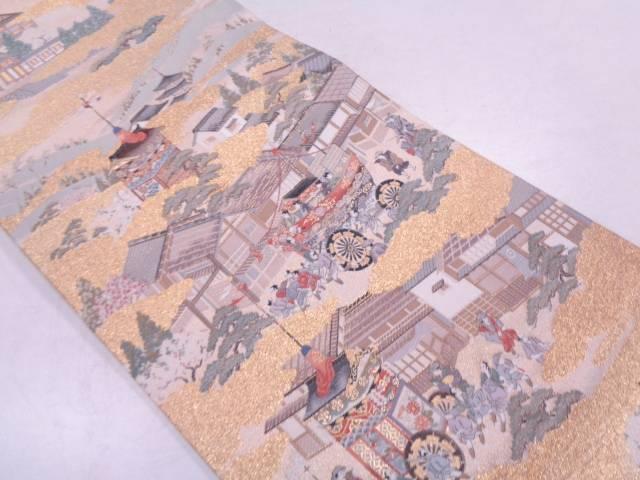リサイクル 本金箔京風景模様織出し袋帯【送料無料】