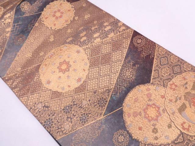 【セール30%オフ】リサイクル 古典柄に花鳥模様織出し袋帯【送料無料】
