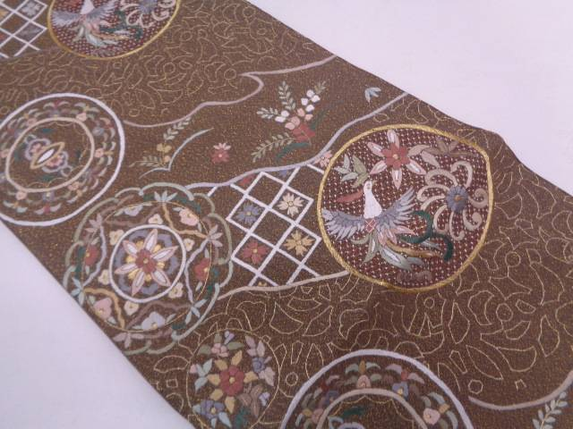 【セール30%オフ】リサイクル 華文に花鳥模様刺繍袋帯【送料無料】