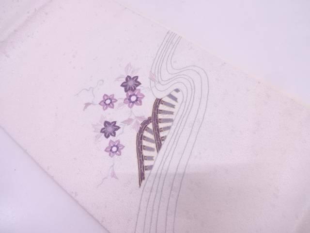 リサイクル 寿光織貝紫相良刺繍波車に草花模様袋帯【送料無料】