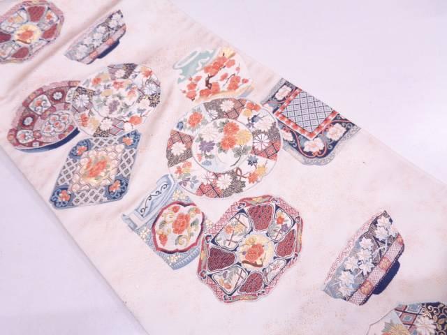 リサイクル 絵皿に水指模様織出し袋帯【送料無料】