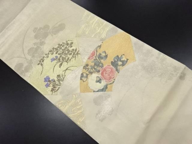 【セール30%オフ】リサイクル 未使用品 じゅらく製 金糸地紙に花模様織り出し袋帯【送料無料】