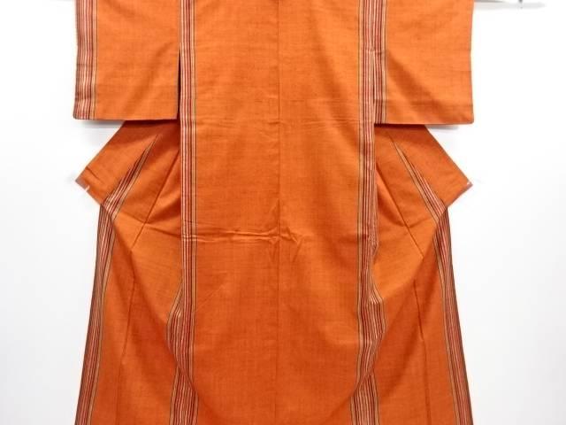 リサイクル 縞模様織り出し手織り真綿紬着物【送料無料】