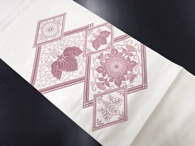 リサイクル 相良刺繍 菱に菊桐模様袋帯【送料無料】