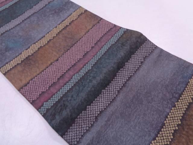 リサイクル 横段に鹿の子模様織出し袋帯【送料無料】