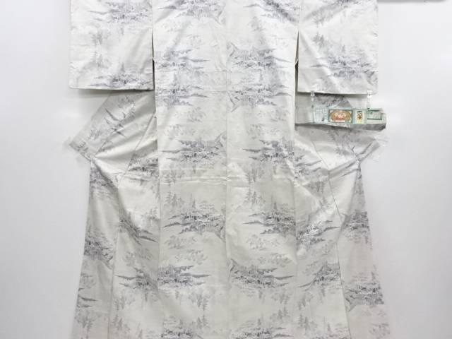 リサイクル 家屋風景模様織り出し本場白大島紬着物(7マルキ)【送料無料】