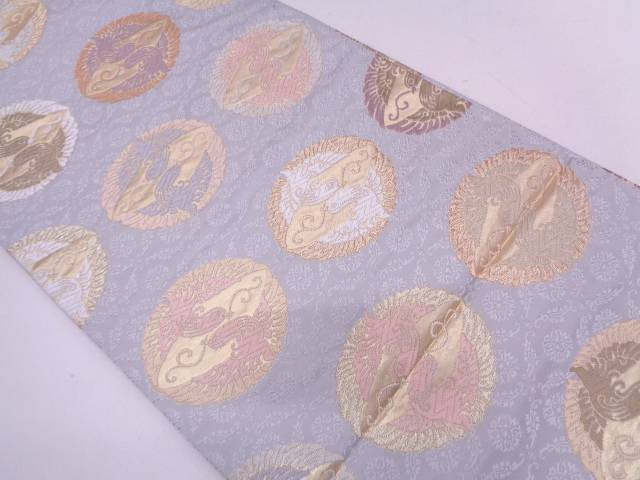 リサイクル 未使用品 唐織向かい鳥模様織出し袋帯【送料無料】