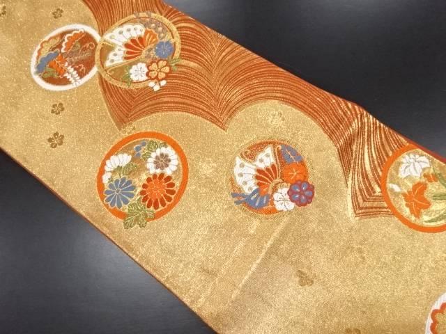 リサイクル 本金箔丸紋に花蝶模様織り出し袋帯【送料無料】