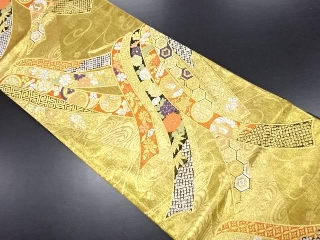 リサイクル 金糸熨斗に家紋・宝尽くし・花模様織り出し袋帯【送料無料】