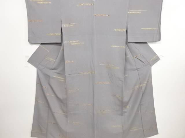 リサイクル 金彩横段に更紗模様一つ紋単衣小紋着物【送料無料】
