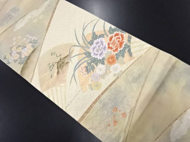 リサイクル 本金 扇面に松・菊・牡丹模様織り出し袋帯【送料無料】
