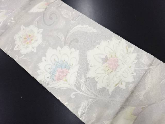 リサイクル 銀糸 唐花模様織り出し袋帯【送料無料】