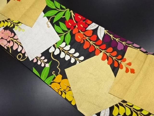 リサイクル 重ね色紙に藤模様織り出し袋帯【送料無料】