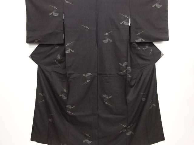 リサイクル 櫛・簪模様織り出し本場泥大島紬着物(9マルキ)【送料無料】