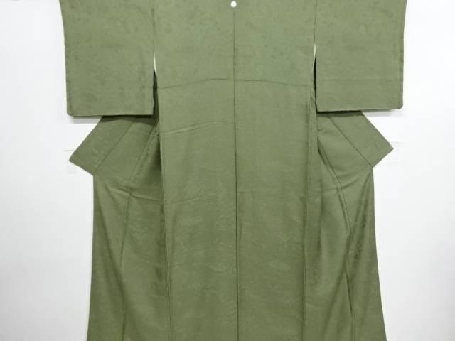 リサイクル 未使用品 寿光織清水寺風景に兎模様織り出し一つ紋色無地着物【送料無料】