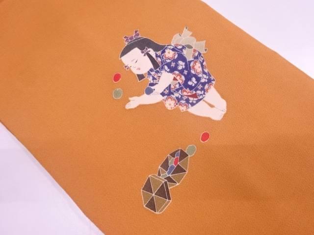 リサイクル 作家物 縮緬地童子模様名古屋帯【送料無料】