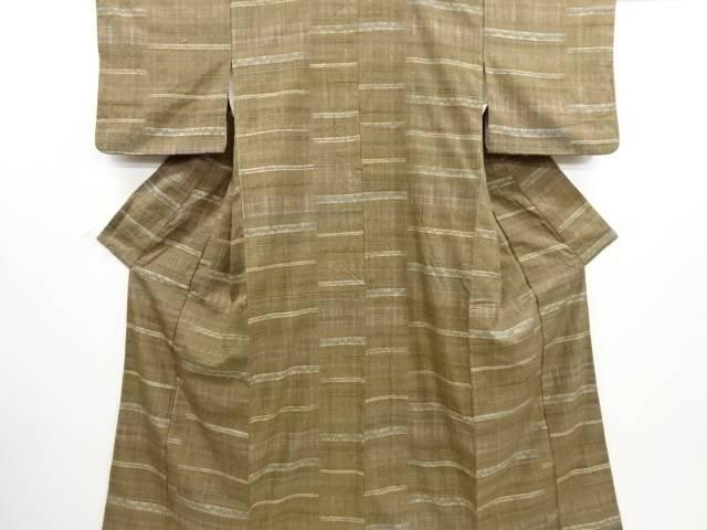 リサイクル 草木染板締め絞り横段に格子織り出し手織り節紬着物【送料無料】