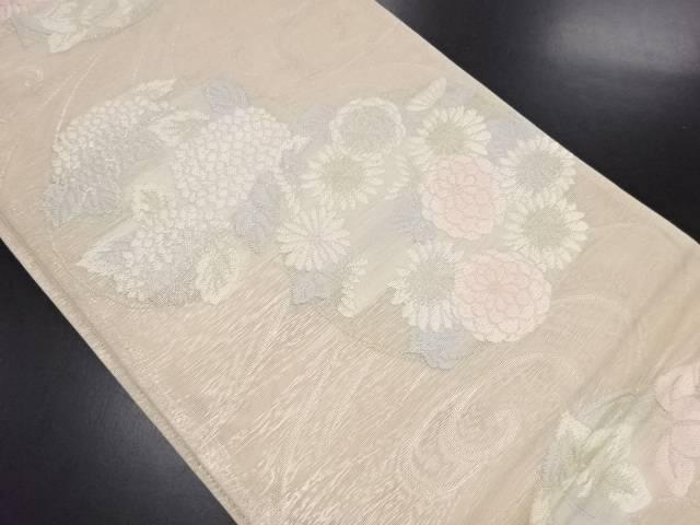リサイクル 紗流水に花丸紋織り出し袋帯【送料無料】