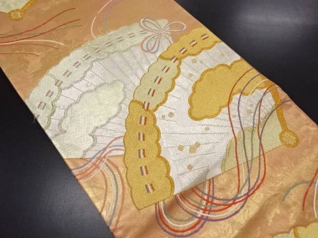 リサイクル 金銀糸桧扇に雲模様織り出し袋帯【送料無料】