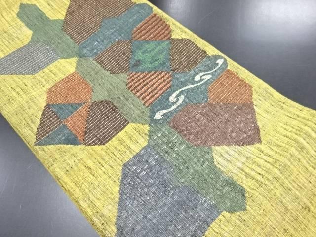 リサイクル 手織り真綿紬金通し幾何学模様織り出し袋帯【送料無料】