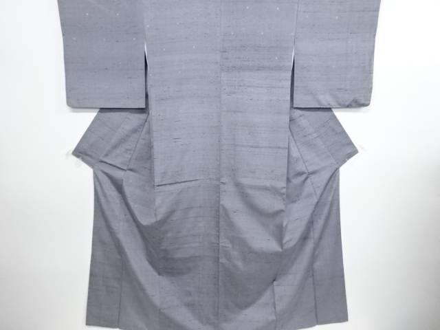 リサイクル 亀甲繋ぎ模様織り出し手織り節紬着物【送料無料】