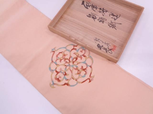 リサイクル 作家物 本綴れ草花模様織出し名古屋帯【送料無料】