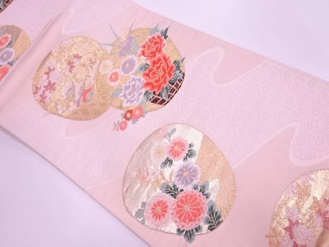 リサイクル 地紙に花籠・秋草模様織出し袋帯【送料無料】