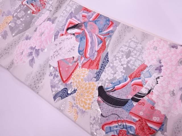 リサイクル 地紙に十二単・草花模様織出し袋帯【送料無料】