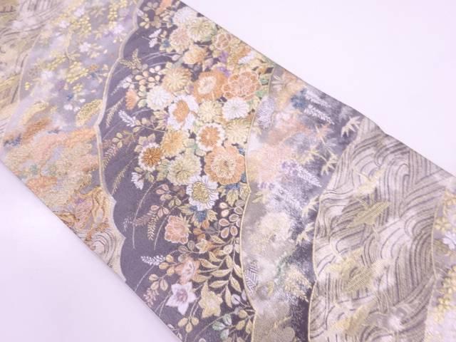 リサイクル 波に鶴・草花模様織出し袋帯【送料無料】