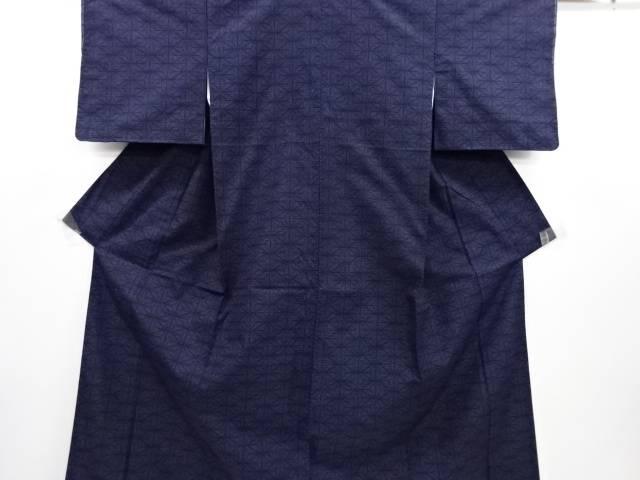 リサイクル 麻の葉模様織り出し本場結城紬80亀甲着物(石下)【送料無料】