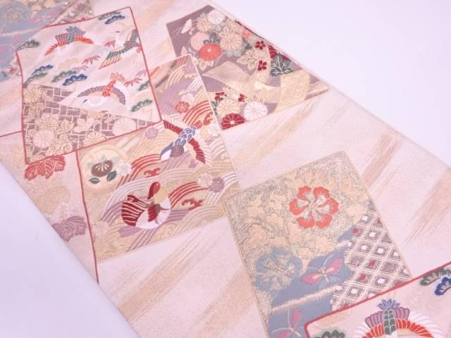 リサイクル 色紙に群鶴・松笹模様織出し袋帯【送料無料】