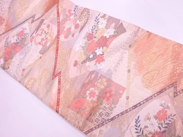 リサイクル 地紙に草花・波車模様織出し袋帯【送料無料】
