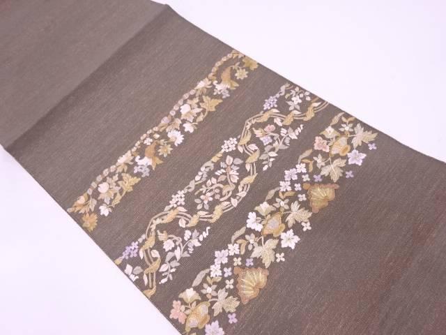 リサイクル 未使用品 綴れ横段に草花模様刺繍名古屋帯【送料無料】