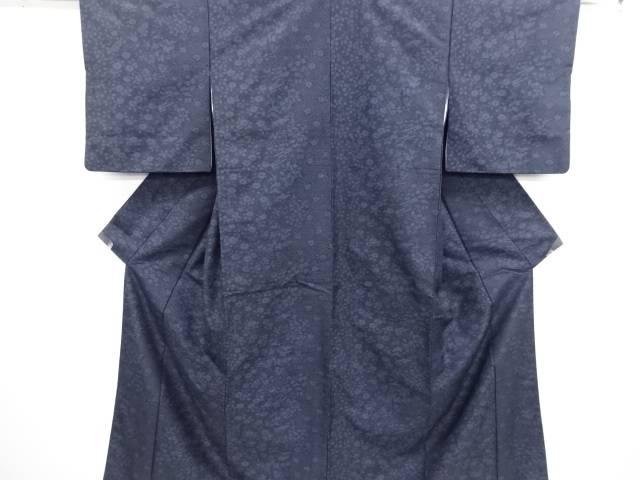 リサイクル 色紙に草花・古典柄織り出し手織り紬着物【送料無料】