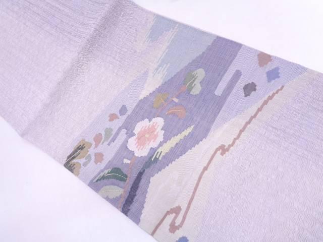 リサイクル 未使用品 紗 すくい織霞に草花模様織出し袋帯(未仕立て)【送料無料】