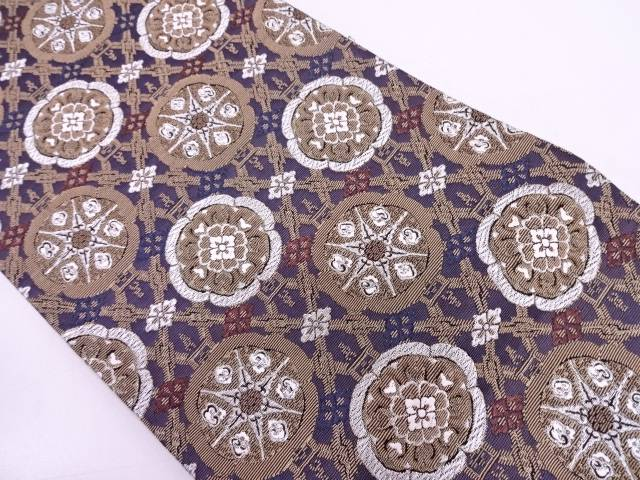 リサイクル 襷に花模様織出し袋帯  【送料無料】