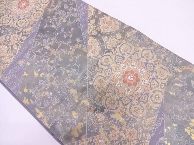 リサイクル 服部織物製 引箔切嵌風藪に葡萄唐草模様織出し袋帯  【送料無料】